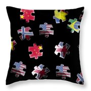 Jigsaw Puzzle Flag Pieces Throw Pillow