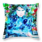 Jim Morrison Watercolor Portrait.3 Throw Pillow