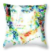 Jim Morrison Watercolor Portrait.5 Throw Pillow