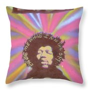 Jimi Hendrix Pastel Throw Pillow