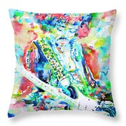 Jimi Hendrix Playing The Guitar.2 -watercolor Portrait Throw Pillow