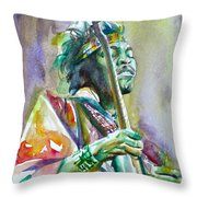 Jimi Hendrix Playing The Guitar.5 -watercolor Portrait Throw Pillow