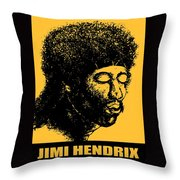 Jimi Hendrix Rock Music Poster Throw Pillow