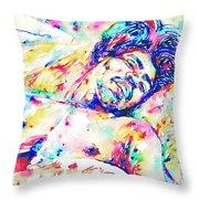 Jimi Hendrix Sleeping - Watercolor Portrait Throw Pillow