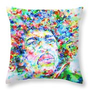 Jimi Hendrix  - Watercolor Portrait.3 Throw Pillow