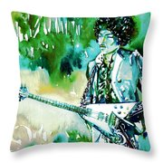 Jimi Hendrix With Guitar Throw Pillow