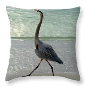 Strutting The Beach Throw Pillow