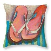 Pink Flip Flops Throw Pillow
