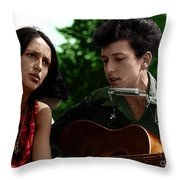 Joan Baez With Bob Dylan Throw Pillow