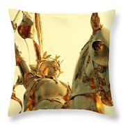 Joan In Gold Throw Pillow