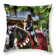 Joan Of Arc - A Woman Knight  In Armor Throw Pillow