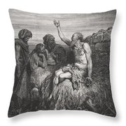 Job And His Friends Throw Pillow by Gustave Dore