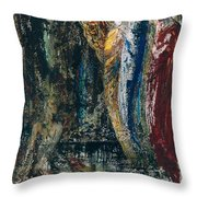 Job And The Angels Throw Pillow by Gustave Moreau