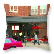 Joblo Restaurant Steakhouse Rue Wellington Verdun Montreal Cafe City Scenes Carole Spandau Throw Pillow