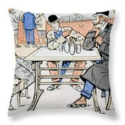 Jockey And Trainers In The Bar Throw Pillow