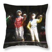 Jockeys In A Row Throw Pillow