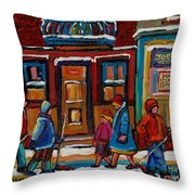Joe Beef Restaurant And Boys With Hockey Sticks Throw Pillow