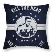 Joe Frazier - Navy Blue Throw Pillow