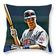 Joe Mauer Painting Throw Pillow