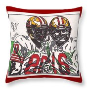 Joe Montana And Jerry Rice Throw Pillow by Jeremiah Colley