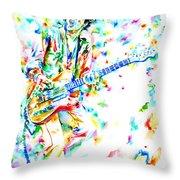 Joe Strummer Playing Live Throw Pillow