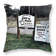 Joe's Place Farms Throw Pillow