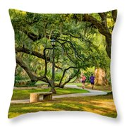 Jogging In City Park Throw Pillow