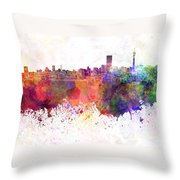 Johannesburg Skyline In Watercolor Background Throw Pillow