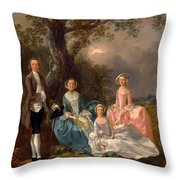 John And Ann Gravenor With Their Daughters Throw Pillow