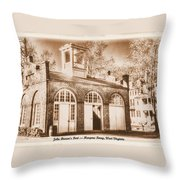 John Browns Fort - Harpers Ferry West Virginia - Modern Day Sepia Throw Pillow by Michael Mazaika