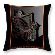 John Coltrane Jazz Saxophone Legend Throw Pillow