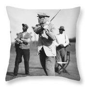 John D. Rockefeller Golfing Throw Pillow
