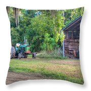 John Deere - Old Tractor Shed Throw Pillow