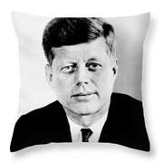 John F. Kennedy Throw Pillow by Benjamin Yeager