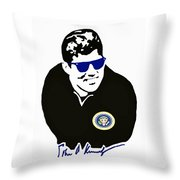 John F Kennedy Signature Wayfarer Throw Pillow by Jost Houk