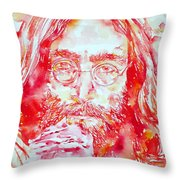 John Lennon With Rose Throw Pillow