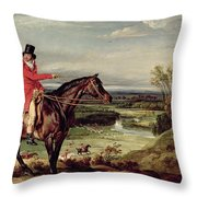 John Levett Hunting In The Park At Wychnor Throw Pillow