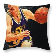 John Stockton Throw Pillow by Taylan Apukovska