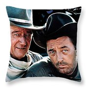 John Wayne And Robert Mitchum El Dorado 1967 Publicity Photo Old Tucson Arizona 1967-2012 Throw Pillow