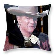 John Wayne Cardboard Cut-out In Store Window Tombstone  Arizona 2004 Throw Pillow