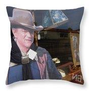 John Wayne Tall In The Saddle Homage 1944 Cardboard Cut-out  Tombstone Arizona 2004 Throw Pillow