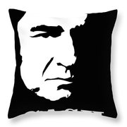 Johnny Cash Black And White Pop Art Throw Pillow