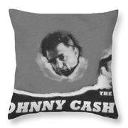Johnny Cash Throw Pillow by David Millenheft