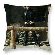 Johnny Cash Gunfighter Hitching Post Old Tucson Arizona 1971 Throw Pillow