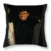 Johnny Cash Music Homage Solitary Man Flanked By Chill Wills  Andy Devine Old Tucson Az 1971 Throw Pillow