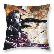 Johnny Cash Original Painting Print Throw Pillow