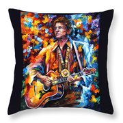 Johnny Cash - Palette Knife Oil Painting On Canvas By Leonid Afremov Throw Pillow