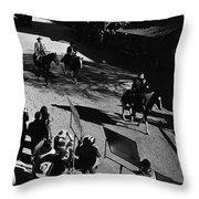 Johnny Cash Riding Horse Filming Promo Main Street Old Tucson Arizona 1971 Throw Pillow