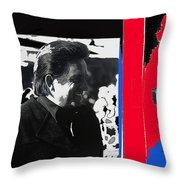 Johnny Cash  Smiling Collage 1971-2008 Throw Pillow