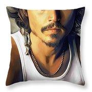 Johnny Depp Artwork Throw Pillow